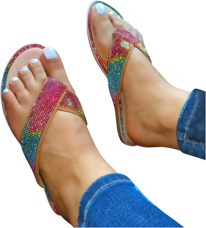Goiwiejhg Sandals for Women's Slip-On 4 years warranty Toe Flat Open Rhines Gifts Beach