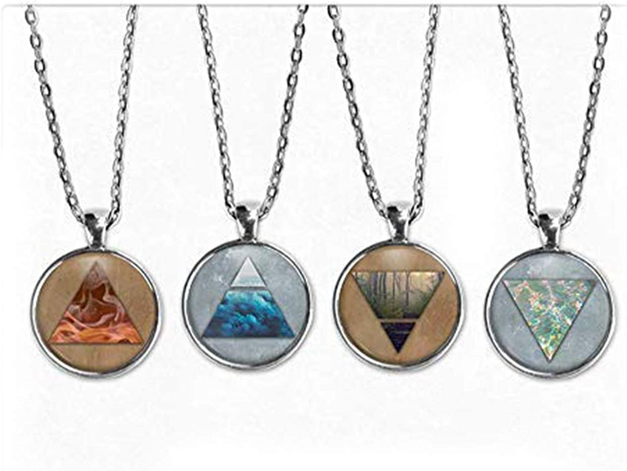 Art Picture Necklace, Four Elements Pendant Necklace Set. Four Elements Necklace, Air Water Earth Fire, Boho Jewelry, Nature Jewelry, Alchemy Jewelry, Gift of Love