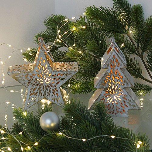 albena shop 74-10 Windlicht Weihnachten Teelichthalter Kerzenhalter (2er-Set: Stern + Tannenbaum)