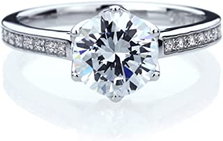 Double Accent Platinum Plated Sterling Silver 2ct Round CZ 6 Prong Solitaire Wedding Engagement...