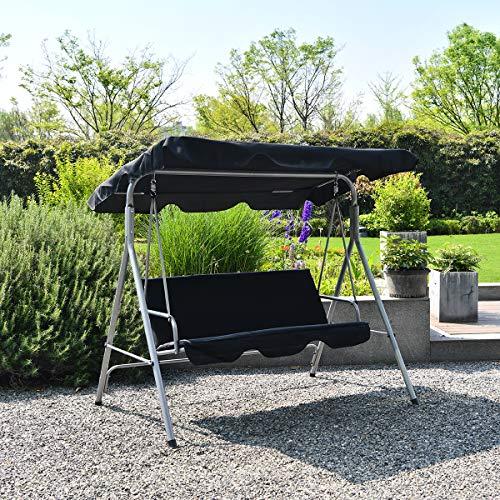 Hollywoodschaukel 3 Sitzer Gartenschaukel Moderne Gartenliege Outdoor Schaukelbank mit Bezug Sonnendach HäNgematte Wasserdichtes Dach Liegefunktion 170x118x153cm, bis 240kg