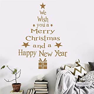 Gotian Merry Christmas Wall Sticker Tree Letters Stick Mural Home Room Decor Wall Art Decal (Gold)