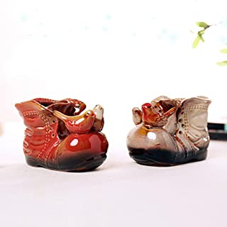 Better-Way Cowboy Boot Planter Boot Shaped Vase Ceramic Plant Pot Windowsill Planter Decoration Orchid Flower Container 2 Pack (Brown)