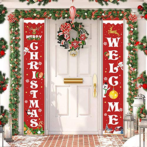 Unves Christmas Decorations Outdoor Indoor, Red Merry Christmas & Welcome Hanging Porch Signs, Xmas Decor Banners for Front Home Wall Door Party