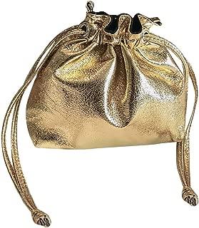 Wultia - New Hot Fashion Bucket Drawstring Pocket Wild Diagonal Shoulder Bag Shiny Patent Leather Bundle Pocket Messenger Bags #M Gold