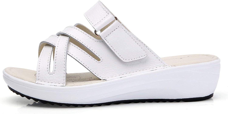 ALWAYS ME Summer Women Slippers Slip On Round Toe Flat Slides Sandals Leather Slippers Flip Flops Slippers