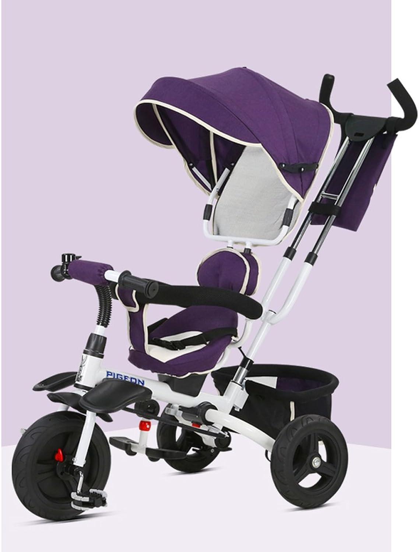 Kinder Faltrad, Kinderwagen, Dreirad, 1 bis 6 Jahre alt, abnehmbare Schubstange, Markise, vorne und hinten Lenkung