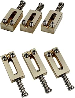 Guyker 10.5mm Guitar Bridge Saddles (Set of 6) – Brass Tremolo System Bridges Tailpiece Replacement Compatible with Fender...