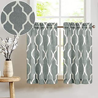 Printed Tier Curtains for Kitchen Moroccan Tile Pattern Short Window Curtains 36 inches Long Quatrefoil Cafe Curtains Lattice Kitchen Window Curtain Sets for Bathroom 1 Pair Charcoal Grey
