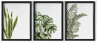 DONLETRA® Set de 3 Láminas Decorativas Nórdicas de Hojas de Plantas para Enmarcar - A3 A4 - Decoración de Pared - Cuadros Modernos en Lienzo sin Marco, LSM-SET3-004 (A4)