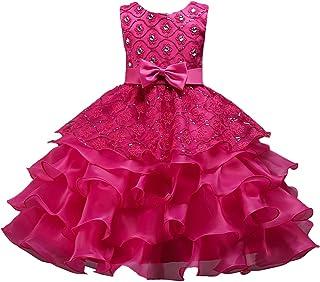 Zhhlinyuan ファッション Girls Ruffles Lace Princess ドレス Kids Party Pageant Wedding Bridesmaid Tutu Dresses
