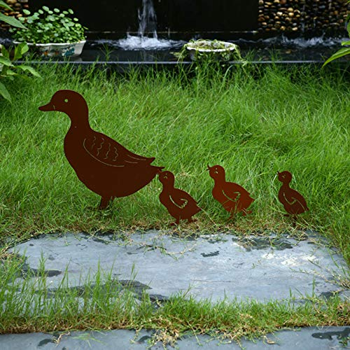 Zelphane Duck Shaped Metal Garden Stake/Statue, 4-Piece Set Animal Yard Decor Outdoor Decorative Accessories, Duck Silhouette for Outdoor Garden Decorations