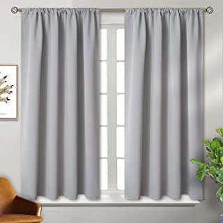BGment Rod Pocket Blackout Curtains for Bedroom - Thermal Insulated Room Darkening Curtain for Living Room, 42 x 45 Inch, 2 Panels, Light Grey
