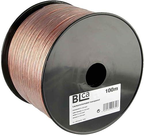BLCA 100m - 2 x 2.5mm² - Câble Audio pour Enceintes - Câble HP Haut-Parleur en CCA Cuivre pour HiFi et Hi-FI Embarquée