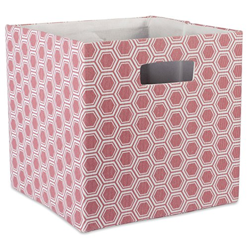 DII Hard Sided Collapsible Fabric Storage Container for Nursery, Offices, & Home Organization, (13x13x13) - Honeycomb Rose