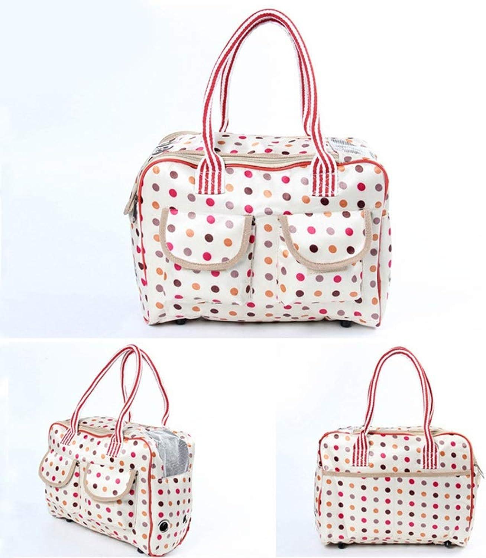HYUE Pet Bag Out Portable Fold Bag Shoulder Bag Breathable Pet Backpack (color   Beige, Size   L)