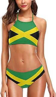 Chic Caribbean Jamaica Flag High Waist Halter Neck 2 Pcs Swimsuit Bikini Bathing Set for Woman Girls