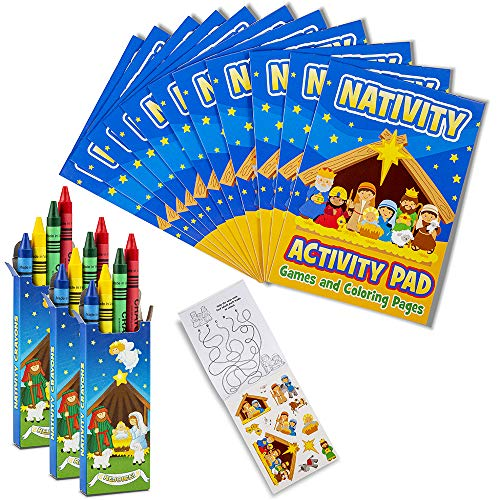 "FAVONIR Christmas Party Favor Nativity Activity Coloring Books with Stickers and Crayons – 12 7"" Coloring Books and 12 Pack Crayons. Goody Bag Handout Assortment Kids Activity and Fun Reward Prizes"