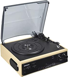 HOFEINZ Vintage Wireless Bluetooth Out Wooden Belt Driven 3 Speed Turntable with Built in Stereo Speakers AM/FM Radio