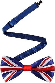 Mens classy bow tie Silk UK Flag Tie Handkerchief Cufflinks Set Pre-tied Wedding Necktie