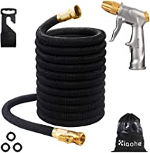 XIAOHE 50ft Garden Hose Nozzle Set, Upgraded Expandable Fabric Latex Core, Metal Water Gun High Pressure in 4 Spraying Modes for Hand Watering Plants & Lawn, Car Washing and Patio (50ft, Black)