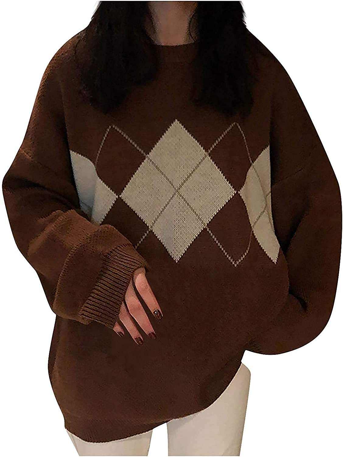 Women's Oversized Cool Sweater Long Sleeve Plaid Pullover Bat Sleeve Knitted Tops