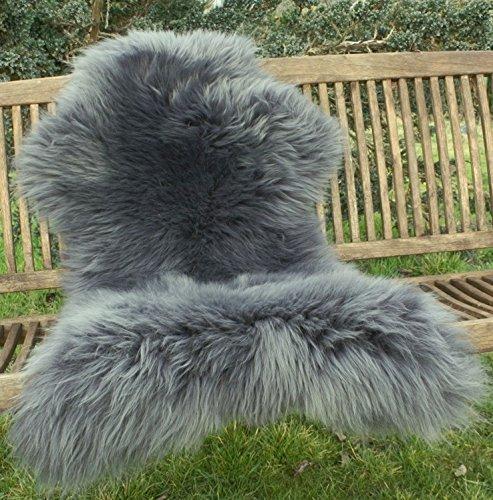 Zaloop Lammfell Schaffell grau versch. Größen echtes Fell Neu (grau, ca. 100-110 cm)