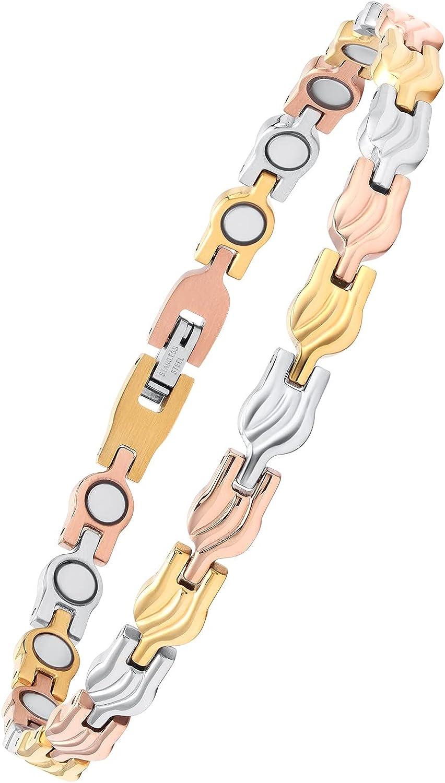 USWEL Magnetic Anklet Bracelets for Women Elegant Titanium Steel Magnet Bracelet Adjustable (10.5