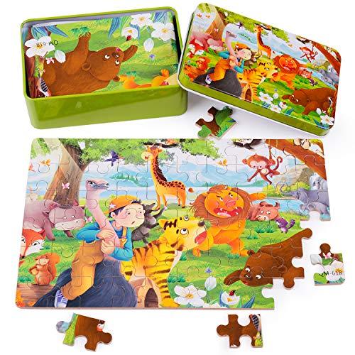 rolimate Puzzle in Legno per Bambini,Miglior Regalo 3 4 5 Anni Ragazzi Ragazze, Animali Puzzle in Legno Apprendimento di Puzzle Educativi Giocattoli (Scatola Metallo 60 Pezzi-Foresta)