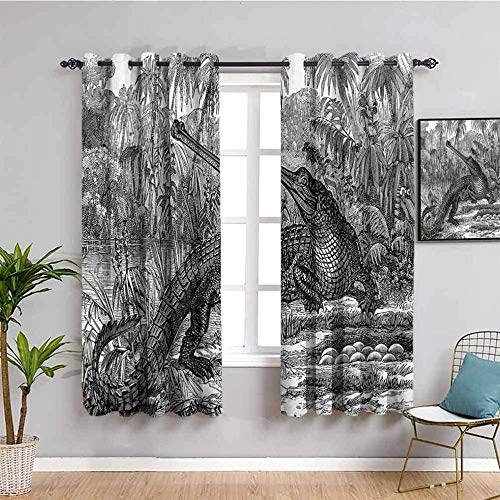 ZLYYH kids curtains Gray cartoon crocodile animal jungle W66'xL90'(33'x90'x2 panels) Curtain Panels Thermal Insulated Window Curtains for Bedroom/Living Room, Darkening & Noise Reducing Drapery