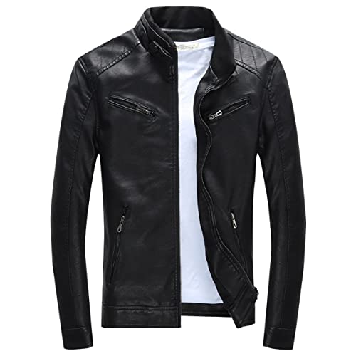 arriving official price low price sale Men's Black Leather Jackets: Amazon.co.uk