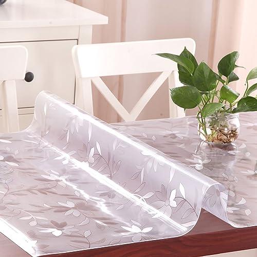 Küchenwäsche PVC Tischdecke, Weißhe Glas Tischmatten Wasserdichte Kristallplatte Kaffeetisch Tuch Tischdecke 1.2MM ( Farbe   A , Größe   90140CM )
