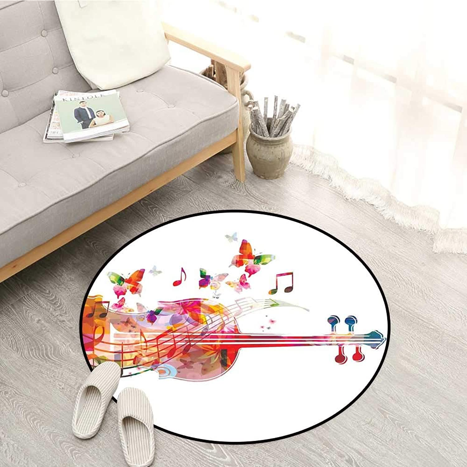 Music Decor Kids Rugs Violoncello with Butterflies Festive Summery Blooms Happy Artful Design Sofa Coffee Table Mat 3'11