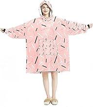 Deken Hoodie, Casual Zachte Microfiber Housecoat, Warm Nachthemd voor Mannen Vrouwen met Roze Memphis Line Patroon Ontwerpen