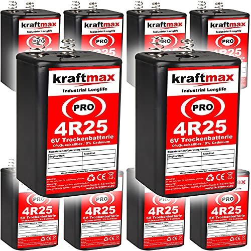 kraftmax 10er Pack 4R25 PRO - 6V Hochleistungs- Industrial Longlife Blockbatterie - 6 Volt Batterie Block - NEUSTE Generation 4R25X