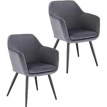 Lestarain 2 x Esszimmerstühle Polsterstuhl Küchenstuhl Samt Stuhl Sessel mit Armlehne, Metallbeine, für Esszimmer Wohnzimmer, Dunkelgrau