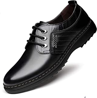Oxford Classic Men's Oxford Shoes Comfortable Lace-up Pointed Business Shoes Durable Faux Leather Formal Shoes Derby Saddle Shoes (Color : Black, Size : 44)