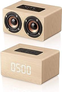 Bluetooth Speaker, MODAR Portable Wireless Speaker Dual Driver AUX Input Bluetooth 4.2, Micro SD Card Speaker Wooden Alarm...