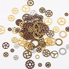 Teenitor 100 Gram Assorted Antique Steampunk Gears Charms Cogs Pendant Clock Watch Wheel Gear for Crafting Jewelry Making Accessory Bronze Copper Gold & Silver Mixed Color (Approx 70pcs) #2