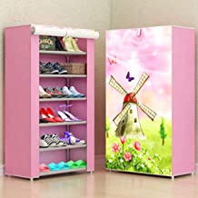 Zizer Multipurpose Portable Folding Shoes Rack 6 Tiers Multi-Purpose Shoe Storage Organizer Cabinet Tower with Iron and Nonwoven Fabric with Zippered Dustproof Cover (Pink-Dot-6-Layer) (Pink-Dota)