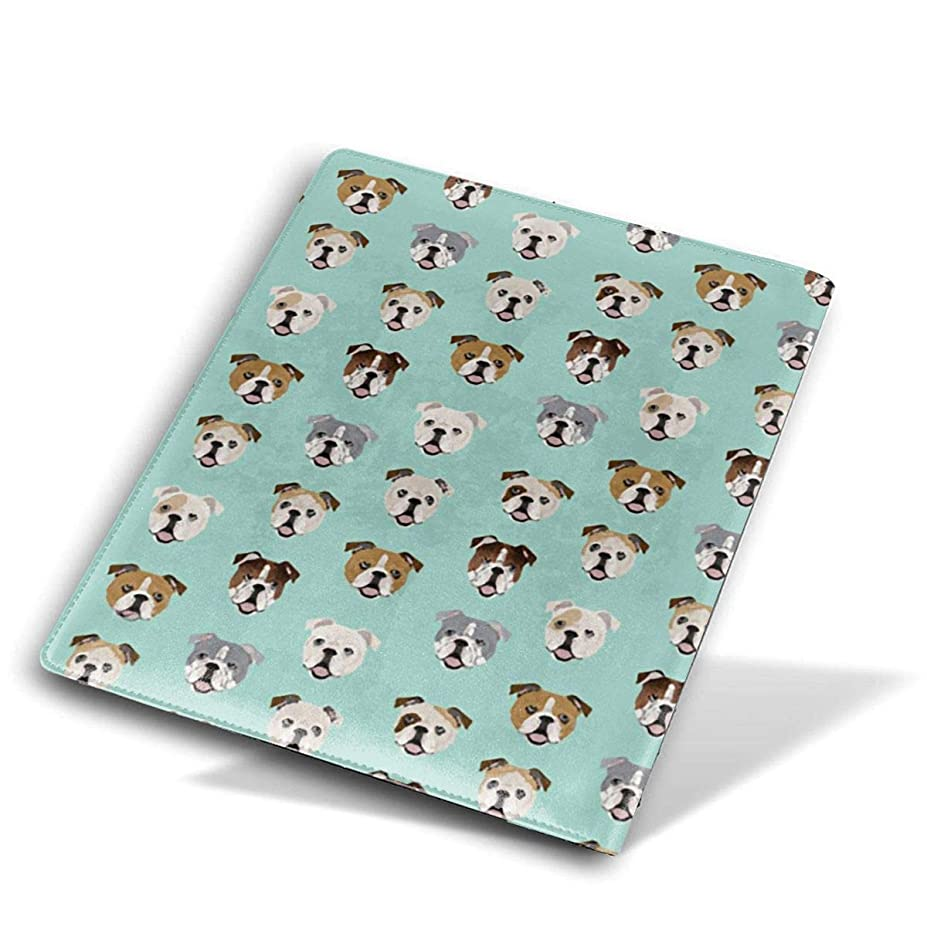 骨接地きちんとした高品質 レザー ブックカバー 本革 かわいいプリント付き 耐水性 教科書 ノート 漫画用 Size 28*51 Cm ブルドッグ犬