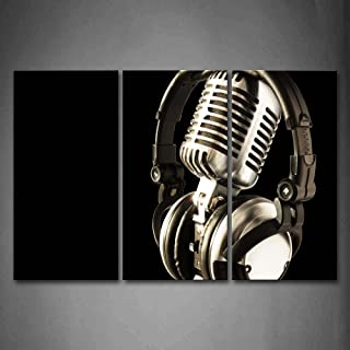 Firstwallart Headphone and Microphone Hangs On It Wall Art Painting The Picture Print On Canvas Music Pictures for Home Decor Decoration Gift
