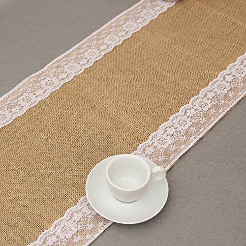 GHKLGY Naturel Hessian toile de lin dentelle coureur de table Antique mariage décoration intérieure comme image 30 cm de large x 250 cm de long