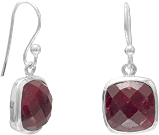 Square Faceted Rough-Cut Ruby Sterling Silver Earrings