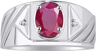 RYLOS Anillo para hombre con gema ovalada y diamantes brillantes auténticos en plata de ley .925-8 x 6 mm Alexandrite, Cit...