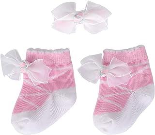 Ortego, Calcetines Bebé Niña de Algodón y Clips Pelo de Flores Bebé Recién Nacido en Caja Set de Regalo