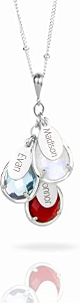 Custom Birthstone Necklace with Names, Personalized Family Tree Necklace in Sterling Silver or Gold Filled [TPCSwOV]