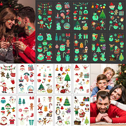 LessMo Christmas Glow in the Dark Temporary Tattoos, 206 Pcs Xmas Luminous Tattoo Stickers for Kids Adults, Cute Cartoon, for Stocking Stuffings, Holiday Birthday Party Favors, Christmas Eve