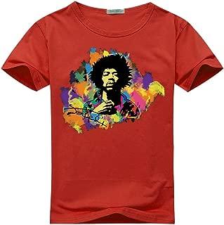Jimi Hendrix Watercolor Logo For Women's Printed Short Sleeve Tee Tshirt Large Red