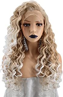 Anogol Hair Cap+Long Kinky Curly Blonde Ombre White Lace Front Wig with Free Part Synthetic Hair Wigs Long Curly Blonde Lace Front Wig Ombre Wigs for Women